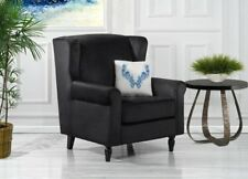 Classic Scroll Arm Velvet Accent Chair, Living Room Armchair, Black