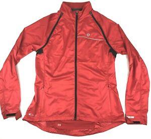 Men's Red Pearl Izumi Long Sleeve Windbreaker Cycling Jacket Full Zip Size XL