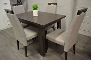 Wenge oak extending dining table and 4 wooden chairs with grey fabric Arte2
