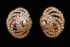 Vintage Alice Caviness large AB rhinestone layered tiered clip on earrings