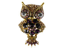 Hot Cocky With It Purple Golden Diamante Owl Wide Eye Adjustable Ring Band gift