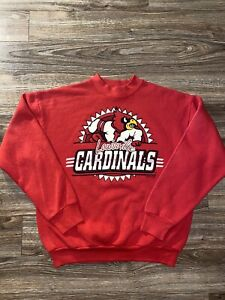 Vintage Louisville Cardinals Big Logo Spellout 90s Red Cotton Blend Sweatshirt L