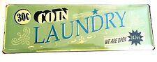 """NEW SHABBY VINTAGE RETRO  CHIC SIGN """"COIN LAUNDRY"""" METAL SIGN"""