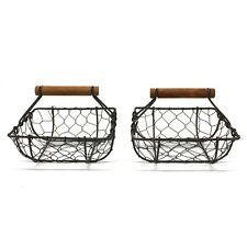 Set of 2 Square Chicken Wire Baskets With Wooden Handle Country Vintage Style