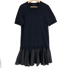 COS Panelled Cotton Knit Sweater Shirt Layered Combo Black Dress Dropped Waist S