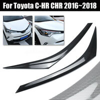 Carbon Fiber Style Eyebrow Front Headlight Lamp Trim For Toyota C-HR CHR  !