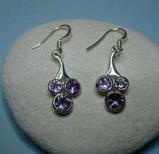 Sterling Silver & Amethyst Gemstone Abstract Drop Earrings - Calmness & Clarity