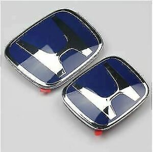 2pcs JDM Honda Front Rear Blue H Emblem 2006-2011 Civic Sedan