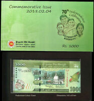 SRI LANKA 1000 1,000 RUPEES 2018 P NEW PICTURE COMM. 70TH SYMBOL WITH FOLDER