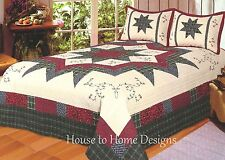 MORNING STAR ** King ** QUILT SET : COTTON 8 POINT STAR COUNTRY CABIN COMFORTER