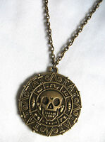 Pirates of the Caribbean Aztec coin Medallion Skull Charm Fancy Dress Necklace