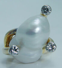 Huge Baroque Pearl Diamond 14K Yellow Gold  Cocktail Ring