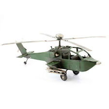 New : TIN TRANSPORT Range : Tin Model Vintage Army Helicopter : Green : Ornament