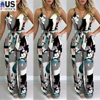 Womens Floral Print V Neck Strappy Playsuit Ladies Summer Casual Jumpsuit Romper