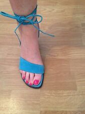 Turquoise Blue Strappy Suede Heels Wedges Ankle Tie Size 8 Original Box