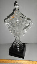 LARGE DECORATIVE GLASS TROPHY AWARD HEAVY GLASS BASE