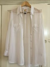Charlie Brown Ladies Sheer White Button Front Shirt Size 10