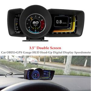 3.5''Smart Car OBD2+GPS Gauge HUD Head-Up Digital Display Speedometer Universal