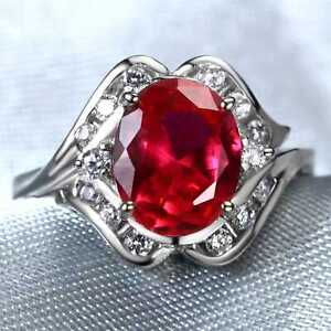 CNL12 Handmade 3.65CT Natural Ruby 14K White Gold Ring Size US7