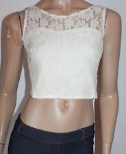 FRAZIER Designer Cream Lace Sleeveless Fitted Top Size S BNWT #sf102