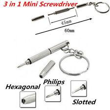 Mini 3in1 Eyeglass Screwdriver Sunglass Watch Repair Kit Tool with Keychain