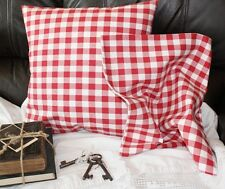 *Deko-Traeume* 2 Kissenhüllen Rot Weiß Karo 50 x 50 cm Landhaus