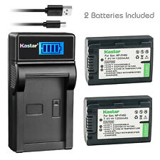 Kastar 2x Battery + Charger For Sony NP-FH50 NPFH40 DSC-HX1 HX100V HDR-UX3/5/7/9