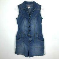 Vintage No Boundaries Denim Romper M Juniors Drop Waist Shortall Jeans 90s