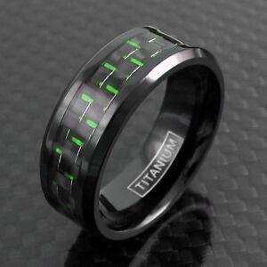 Black Titanium Men's Green Carbon Fiber Inlaid Center Band Ring Sizes 9-13