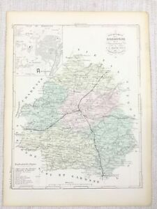 1881 Antique French Map Perigueux Dordogne France Old Hand Coloured Engraving