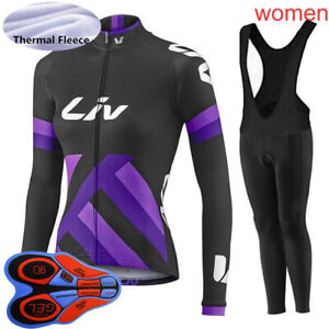 Womens Winter Cycling Jersey Pants Set Thermal Fleece Long Sleeve Bicycle Suit