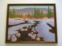 MYSTERY ART OIL PAINTING AMERICAN REGIONALISM LANDSCAPE  STREAM NATURE MOUNTAIN