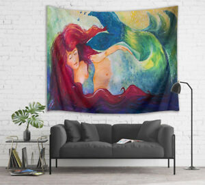 Painting Style Red Haired Mythical Mermaid Tapestry Wall Hanging for Living Room