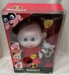 DISNEY PIXAR - *New* Incredibles 2 Jack Attacks & Racoon Plush Doll Toy *Sounds*