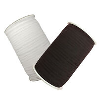 5m Flat Elastic Cord Stretch White / Black 6mm for Sewing Tailoring Dressmaking