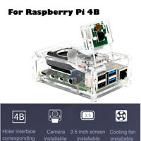 Raspberry Pi 4 Model B Clear Acrylic Case Enclosure Box with Cooling Fan 2019