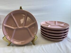 SET OF 6 Williams Sonoma Divided Plates Sushi Appetizer Fondue Pink