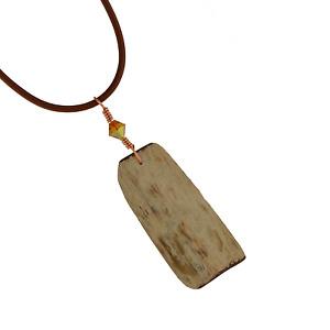 Arizona Petrified Wood Artisan Pendant Copper Wire Wrap Necklace Leather Cord