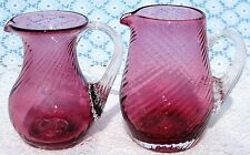 Rare Pilgrim Cranberry Glass Swirl Mouthblown Pitchers w Gold - Out of Business!