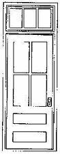 """GRANDT LINE O SCALE FCTORY FRNT DOOR W TRANSM MASONRY 39X92""""(2)   BN   3612"""