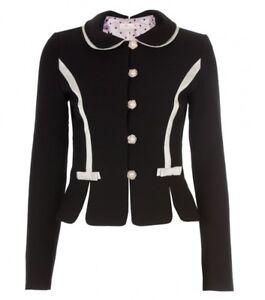 Alannah Hill Black/Creme 'Love Bitten Kitten' Jacket Size 10