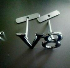 1 x V8 Chrome Grill Badge 8 x 4cm Zinc Alloy Metal new Holden. Jeep. ford