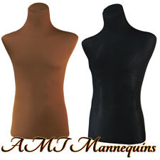 2 covers to renew female male mannequin torsos, size S~M, 2 nylon Jerseys-Brn+Bk