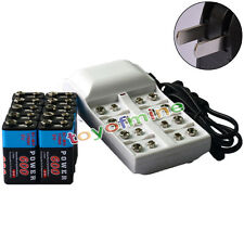 10x 9V 6F22 PPS 600mAh Ni-Mh Rechargeable Battery + 8 Slot Batteries Charger