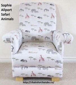 Children's Grey Safari Animals Chair Sophie Allport Fabric Elephants Giraffes