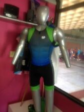 Men's Triathlon Tri Suit Blue with neon green borders 2Xl