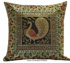"""Black 17"""" Peacock Cushion Pillow Cover Silk Brocade Throw Indian Bohemian Decor"""