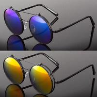 Flip Up Metal Frame Mirror Lens Steampunk Vintage Retro Style Round Sunglasses