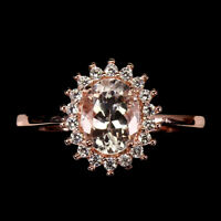 Unheated Oval Pink Morganite 8x6mm Cz Rose Gold Plate 925 Sterling Silver Ring