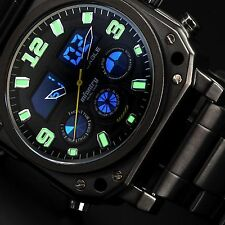 INFANTRY Mens Quartz Wrist Watch Luminous Stopwatch Sport Black Stainless Steel